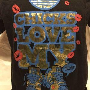 Adidas Chicks Love My KIcks T-Shirt Kisses Shoes L